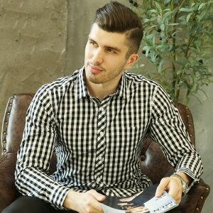 メンズ シャツ ビジネスシャツ 綿 シャツ メンズ チェック柄シャツ メンズ 男性用 仕事 オフィス シャツ トップス 春夏物 メンズ 長袖シャツ チェック シャツ メンズシャツ カジュアルシャツ