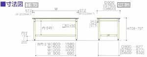 ワークテーブル800シリーズ固定式高さ740mmリノリューム天板幅1800×奥行き750×高さ740mm【YAMA-SVR-1875】