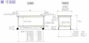 ワークテーブル300シリーズ移動式高さ740mmリノリューム天板幅1500×奥行き900×高さ740mm【YAMA-SWRC-1590】