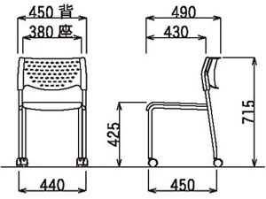 ミーティングチェア肘なしキャスター付クロームメッキグレーシェルタイプ【MC-231G】