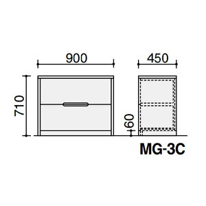 役員室用家具マネージメント30・40シリーズラテラル2段キャビネットカラー(ナラ・シルバーハート)【MG-3CN】