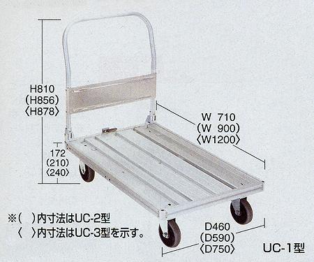 アルミ台車 幅900×奥行き590×高さ856mm【UC-2】:エコノミーオフィス-オフィス家具