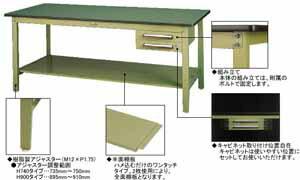 ワークテーブル500シリーズ固定式高さ740mmリノリューム天板幅1500×奥行き600×高さ740mm【YAMA-SJR-1560】