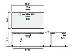 ワークソートテーブルManager16アジャスター脚幅1600×奥行800×高さ720mm【SD-WSA168P81N】