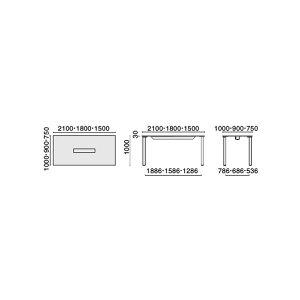HLテーブル長方形幅1800×奥行900×高さ1000mm【HL-180HPR】