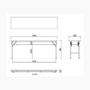 アルミフレーム折り畳み会議テーブル棚付き共貼り奥行450mm【TU-1845T】