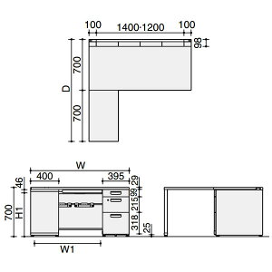 MX+デスクL型片袖デスク3段幅1600×奥行き1400【SD-MXZ167LLC3F11】