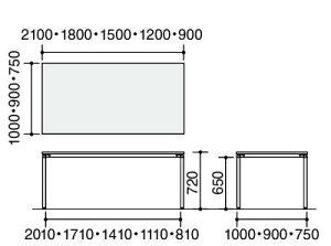 ジュートミーティング用テーブル(4本脚角脚・角形正方形天板)幅1800×奥行750×高さ720mm【MT-JTK187】