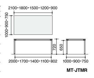 ジュートミーティング用テーブル(4本脚丸脚・角形正方形天板)幅1800×奥行750×高さ720mm【MT-JTMR187】