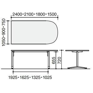 コクヨビエナVIENA配線ボックス付きU字形テーブル(T字脚)ポリッシュ脚タイプ幅1500×奥行750×高さ720mm【MT-VU157BPM】