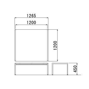 センターテーブル幅1265×奥行き1200×高さ450mm【CT-650】