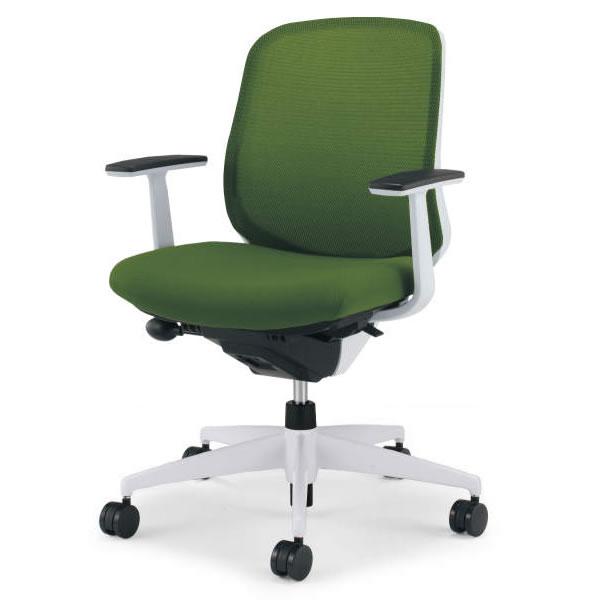 コクヨ シロッコ(Scirocco) オフィスチェア ローバック T型肘(ランバーサポートなし) 背座同色 樹脂脚(ホワイト/クリーンテクトコーティング)【CR-GW2601E1】:エコノミーオフィス-オフィス家具