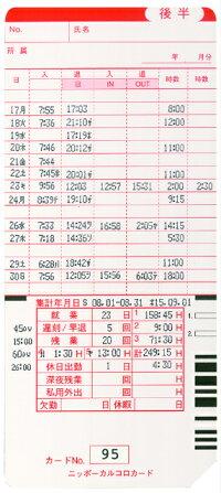 ニッポー<NIPPO>集計印字対応タイムカードカルコロカード「後半用」
