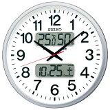 【送料無料】セイコー 大型電波掛時計 KX237S オフィスタイプ 温湿度・カレンダー付 直径500mm デジタル文字高(最大)55mm 白文字盤 銀色メタリック