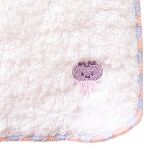 ワンポイント刺繍タオル ジェリー ナチュラル 日本製 ハンドタオル ミニタオルハンカチ くらげ クラゲ ハンカチ タオルハンカチ かわいい おしゃれ ふわふわ