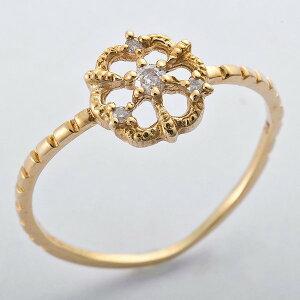 ※同梱「直送」K10イエローゴールド天然ダイヤリング指輪ダイヤ0.05ct8号アンティーク調フラワーモチーフ