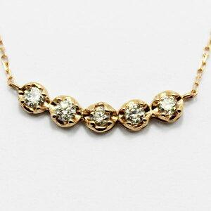 ※同梱「直送」18金ピンクゴールド0.3ctダイヤモンド5ラインデザインペンダント