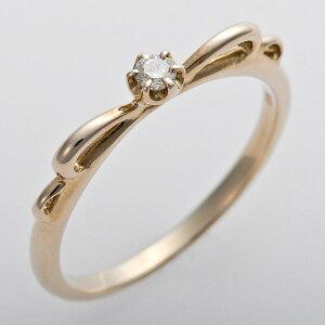 ※同梱「直送」K10イエローゴールド天然ダイヤリング指輪ピンキーリングダイヤモンドリング0.03ct4号アンティーク調プリンセスリボンモチーフ