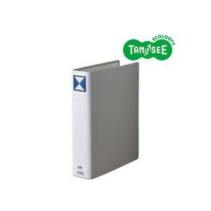 ※同梱「直送」(まとめ)TANOSEE両開きパイプ式ファイルA4タテ50mmとじグレー30冊
