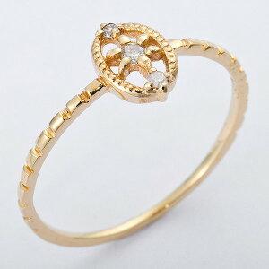 ※同梱「直送」K10イエローゴールド天然ダイヤリング指輪ダイヤ0.04ct10号アンティーク調