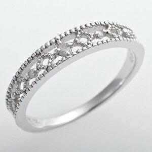 ※同梱「直送」K10ホワイトゴールド天然ダイヤリング指輪ピンキーリングダイヤモンドリング0.02ct4.5号アンティーク調プリンセス