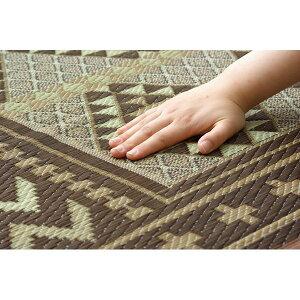 ※同梱「直送」純国産/日本製袋三重織い草ラグカーペット『Fアンカラ』ブラウン約191×191cm(裏:ウレタン)