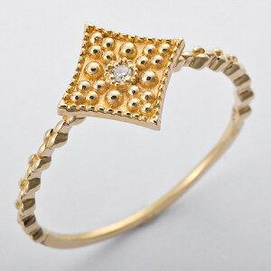 ※同梱「直送」K10イエローゴールド天然ダイヤリング指輪ダイヤ0.01ct10.5号アンティーク調スクエアモチーフ