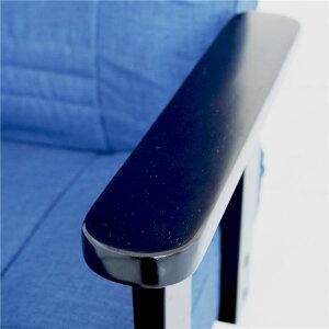 ※同梱「直送」回転式高座椅子/リクライニングチェア晶肘付きコイルバネBLブルー(青)