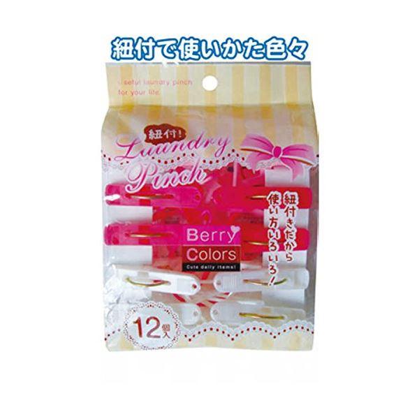 直送・代引不可Berry Colors 紐付ランドリーピンチ12個入 【12個セット】 38-804別商品の同時注文不可