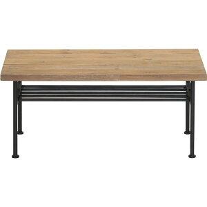 ※同梱「直送」センターテーブル(ローテーブル/リビングテーブル)JOKER幅90cm木製/杉古材×スチール収納棚付き木目調