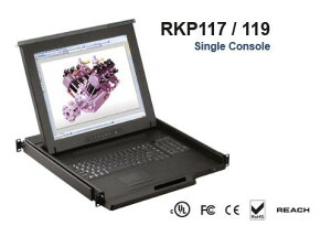 RKP119-M1604B 「直送」【代引不可・他メーカー同梱不可】 オースティンヒューズ 1U 19インチLCDモニター キーボード ドロアー トラックボールマウス PS/2&USBコンボ 16ポート Matrix-KVMスイッチ 4コン
