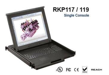 RKP119-M1604B 「直送」【代引不可・他メーカー同梱不可】 オースティンヒューズ 1U 19インチLCDモニター キーボード ドロアー トラックボールマウス PS/2&USBコンボ 16ポート Matrix-KVMスイッチ 4コンソール【キャンセル不可】