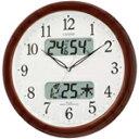 カレンダー・温度・湿度表示機能付。【送料無料】リズム時計 電波掛時計 ネムリーナカレンダーM01 茶色メタリック色(白) 4FYA01-006 [4FYA01006]