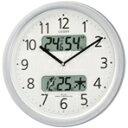 カレンダー・温度・湿度表示機能付。【送料無料】リズム時計 電波掛時計 ネムリーナカレンダーM01 シルバーメタリック色(白) 4FYA01-019 [4FYA01019]