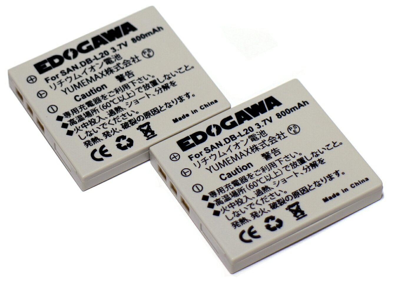 デジタルカメラ用アクセサリー, バッテリーパック EDOGAWA 2 SANYO DB-L20 (2XED-BAT)