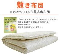 3M™シンサレート™ウルトラ高機能中綿素材とインビスタ社ダクロン®クォロフィル®アクアわた入ウォッシャブル掛布団・防ダニ加工わた使用軽量3層敷布団・洗える枕3点布団セット