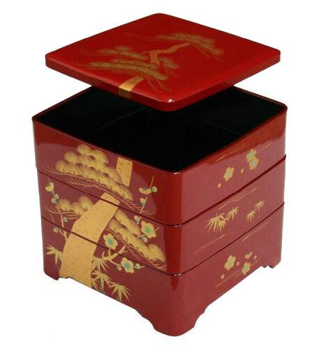 紀州漆器 木質 6.5寸三段重 松竹梅 001-759 (弁当箱 お重 お弁当箱 オード...