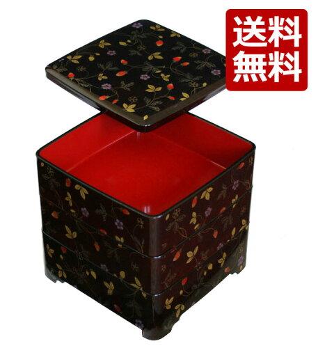 紀州漆器 木質 6.5寸三段重 溜塗 唐草いちご 001-760(重箱 お重 オードブル お弁当...