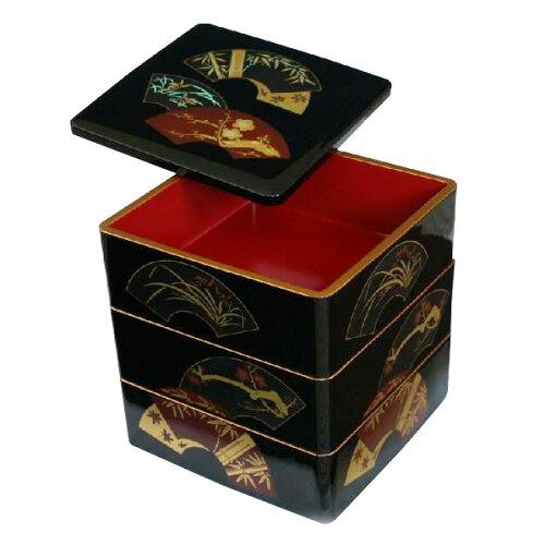 紀州漆器 木質 7.5寸三段重 地紙 001-762(重箱 弁当箱 お重 お弁当箱 オードブル ...