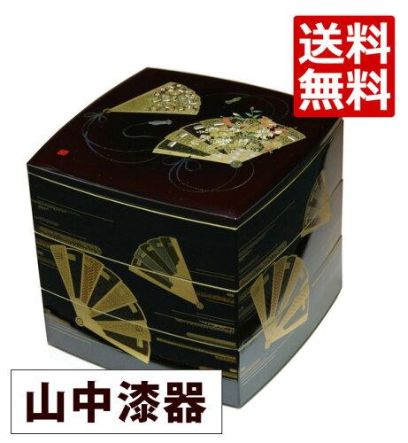 山中漆器 6.5寸 胴張三段重 溜塗 天上の舞 001-1554 (漆器の重箱、日本製、国産の...