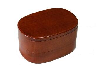 會津漆器空午餐盒橢圓形兩-001-796 脫皮 (木盒時尚便當便當盒進一步便當框男女的便當盒孩子便當盒體育便當盒)