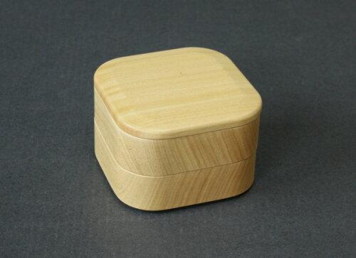 岡部洋食器製作所 青桐 プチ弁当箱 四角 2段 001-1101 (木製、くり抜き、お弁...