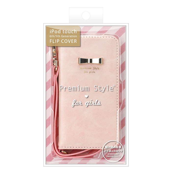 iPod touch 6th 5th フリップカバー パステルリボン ペールピンク 手帳型 ブック カバー ケース アイポッド タッチ アイポッドタッチ 第5世代 第6世代