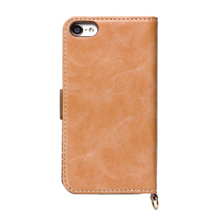 iPod touch 6th 5th フリップカバー パステルリボン ブラウン 手帳型 ブック カバー ケース アイポッド タッチ アイポッドタッチ 第5世代 第6世代