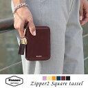 Fennec Zipper Wallet 2 Square Tassel フェネック レディース 二つ折り財布 スクウェアタッセルチャーム付き 本革レザー ミニウォレット 旅行 結婚式 ギフト 【送料無料】