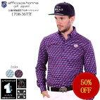 ゴルフウェア業界初!ムーヴフィッティング設計シャツがパンツから出にくい!立体四角柄ボタンダウン長袖ポロシャツ