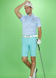 『2017SS新作!』幾何学柄BD襟ポロシャツefficace-hommeエフィカスオムメンズゴルフウェア