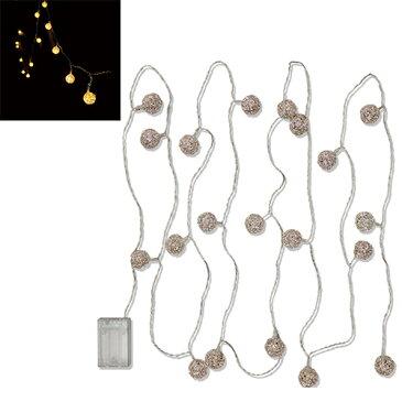 スーパーセール限定価格 ホワイエ MLワイヤーボールガーランド ライト LED電池式 8250004 クリスマスツリー イルミネーション インテリア ガーデン
