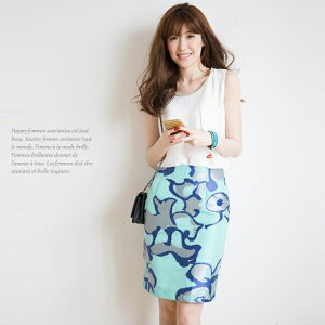 主役級の存在感♪ジャガード織りタイトスカートシルバー×ブルーの夏カラーが涼しげで素敵です♪♪裏地付き・ボトムス・ハーフ丈・ひざ丈・レディースファッション【在庫わずか】