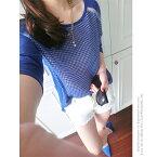 [メール便可]肩のシースルーがSexy&お洒落な【Oversize】ニット♪チェック柄ラグランスリーブセーターS/M/L・長袖トップス・クルーネック・レディースファッション【AW】【在庫わずか】